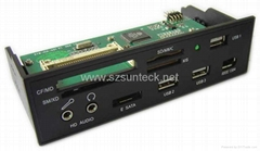 "5.25"" All-in-1 internal card reader/writer with USB HUB&ESATA&1394 ports"