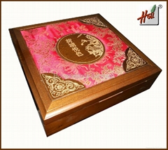 Wooden box covered satin