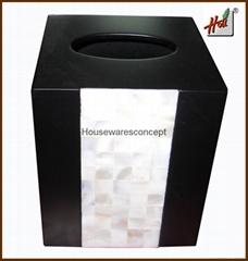 Personalized wooden tissue storage box