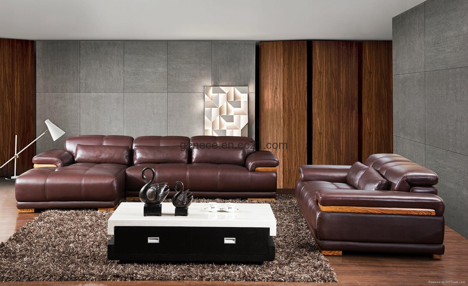 European Style Sectional Sofa Modern Genuine Leather 1