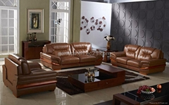 Popular Home Sofa Leather Receptional Sofa Set Wooden Furniture