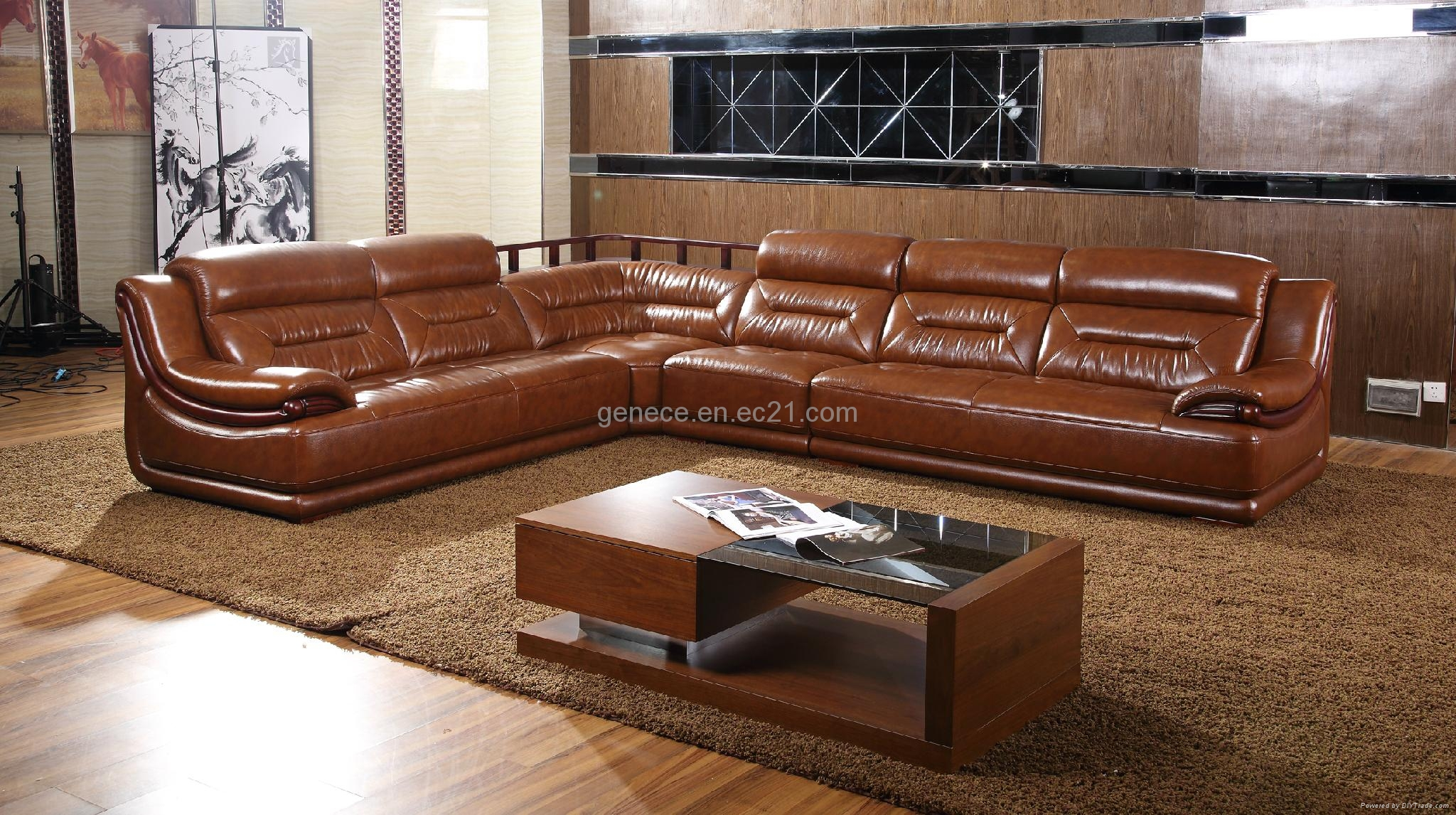 Top Grain Cow Leather Sofa Wooden Secitonal Sofa Quality