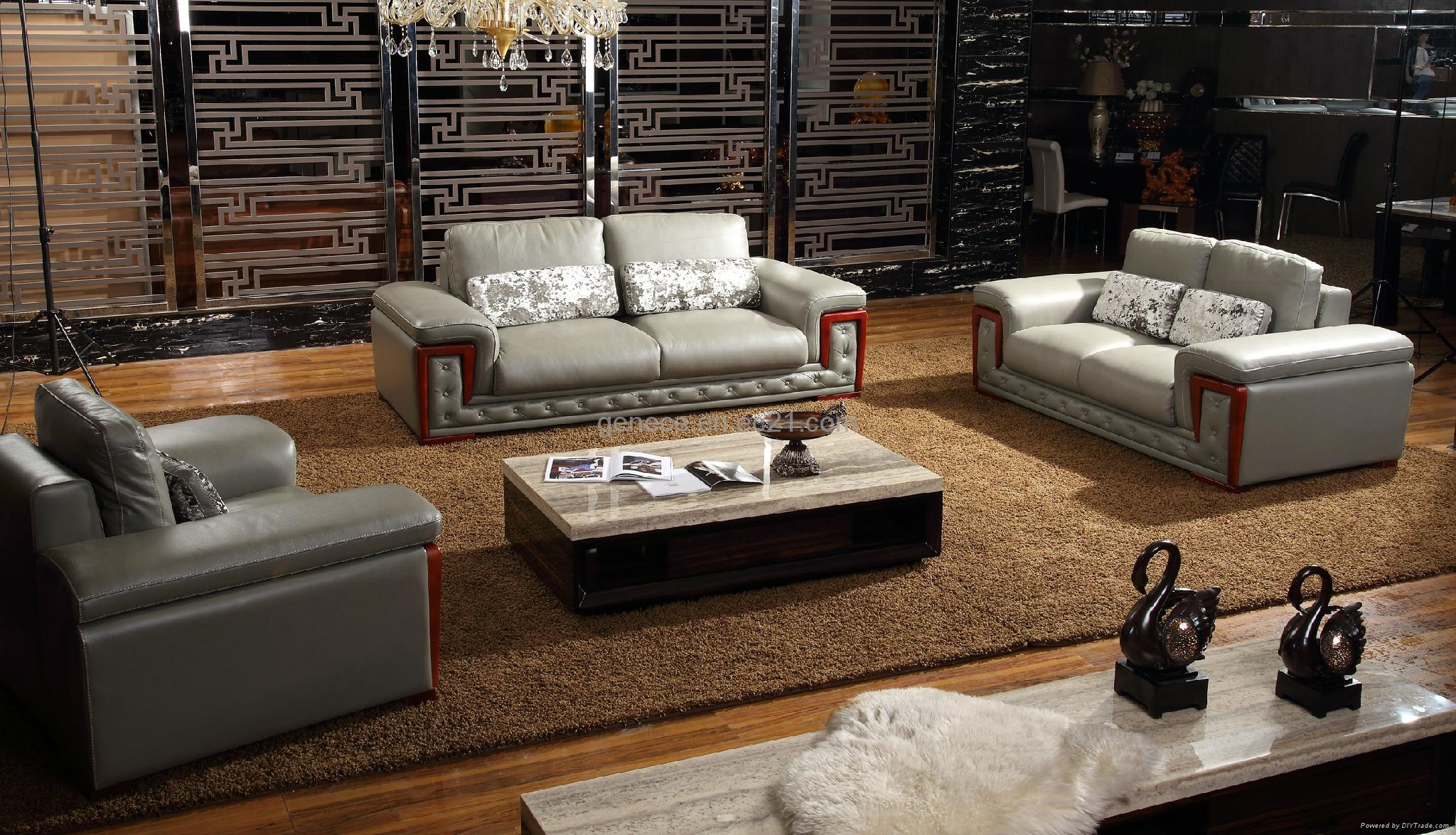 Post Modern Wooden Sofa Set Quality Leather Home Furniture