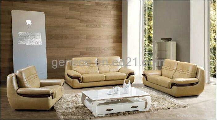 Hot Sale Half Leather Sofa Set 3+2+1 Couch - GS053# - Genece ...