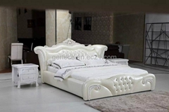 High Quality Classic Leather Bed Crown Prince Bedroom Sets