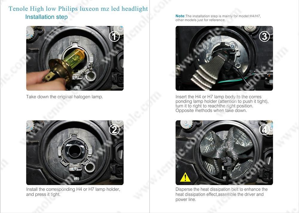 Headlight Bulb Size : Tenole innovation hid bulb size philips luxeon mz led