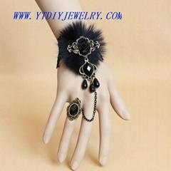 fashion gothic black lace bracelets& ring set