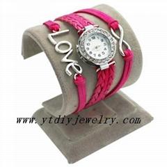 12 colors CZ diamond hand woven bracelet wrist watches