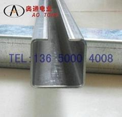 AT扁线滑轮流水线吊轨 不锈钢滑触线滑轨小车吊码C40型槽钢304