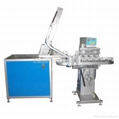 Full-automatic plastic bottle cap pad printing machine with conveyor (APM-4C-cap