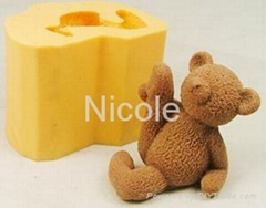 3D silicone rubber lovely teddy bear soap mold