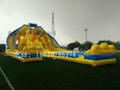 Inflatable large three water slides