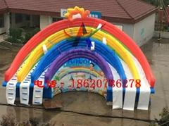 充气彩虹水滑梯