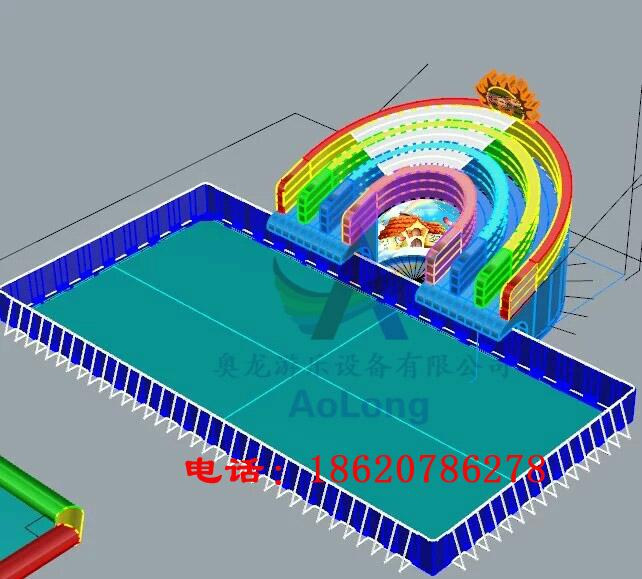 Inflatable water slides rainbow 6