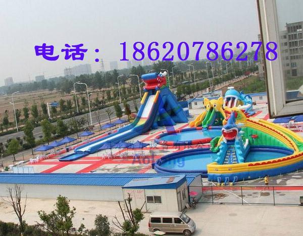 Inflatable dragon shark water slides 4