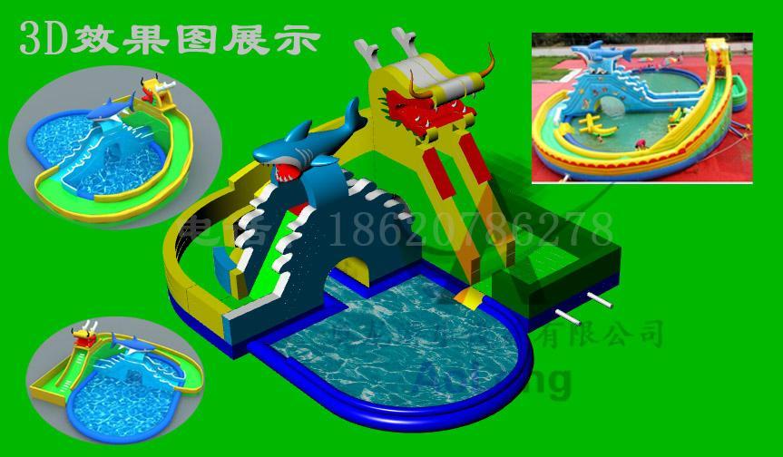 Inflatable dragon shark water slides 1