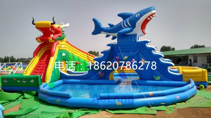 Inflatable dragon shark water slides 3