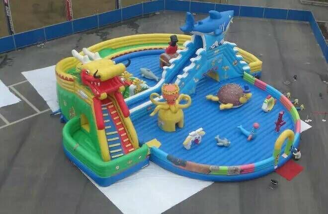 Inflatable dragon shark water slides 8