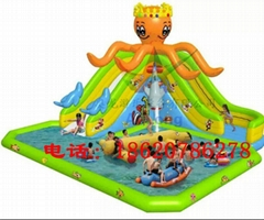 Inflatable octopus slides