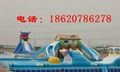 Inflatable bounce house double-sided plastic slide 6