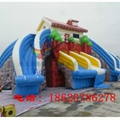 Inflatable bounce house double-sided plastic slide 2