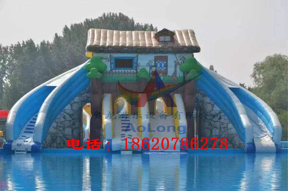 Inflatable bounce house double-sided plastic slide 3