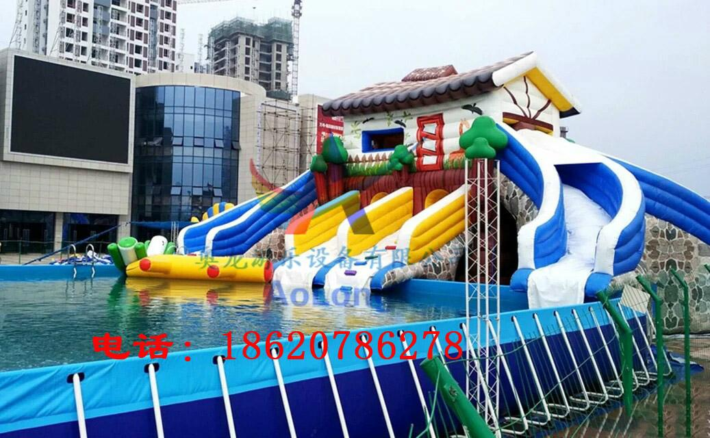 Inflatable bounce house double-sided plastic slide 4