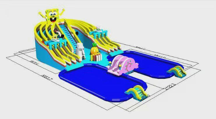 Inflatable spongebob slide (water park) 1