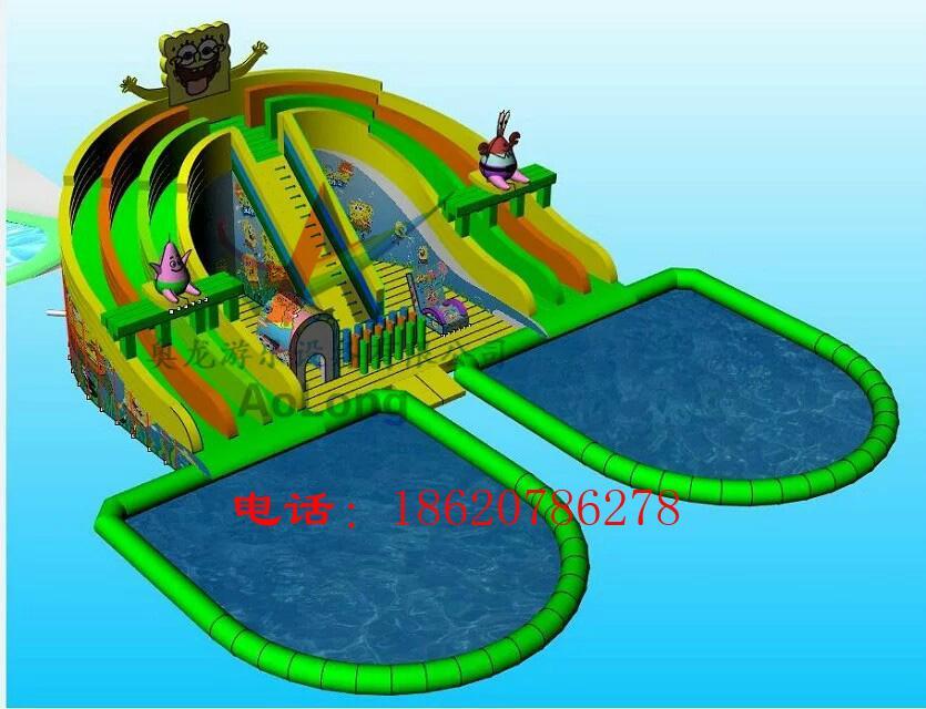 Inflatable spongebob slide (water park) 3