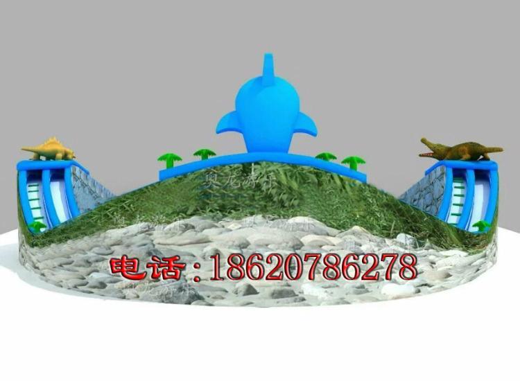 Inflatable dragon crocodile sharks slides (water park) 3