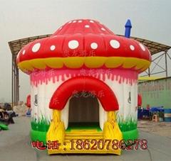充气蘑菇房子蹦床