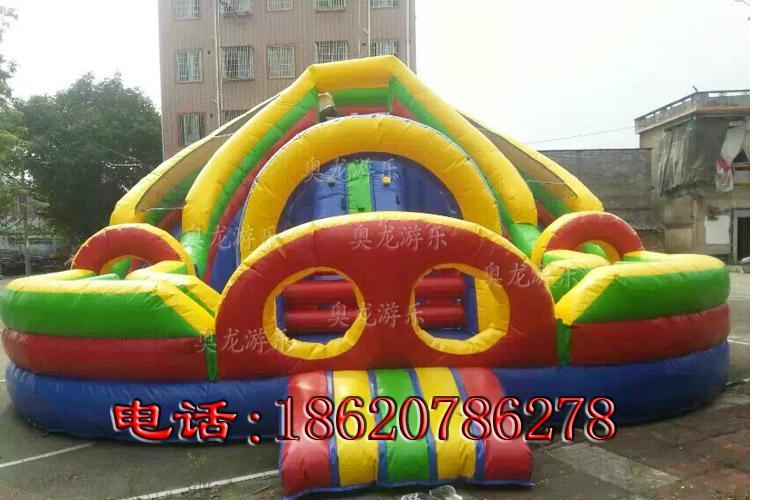 Inflatable three slide castle 5