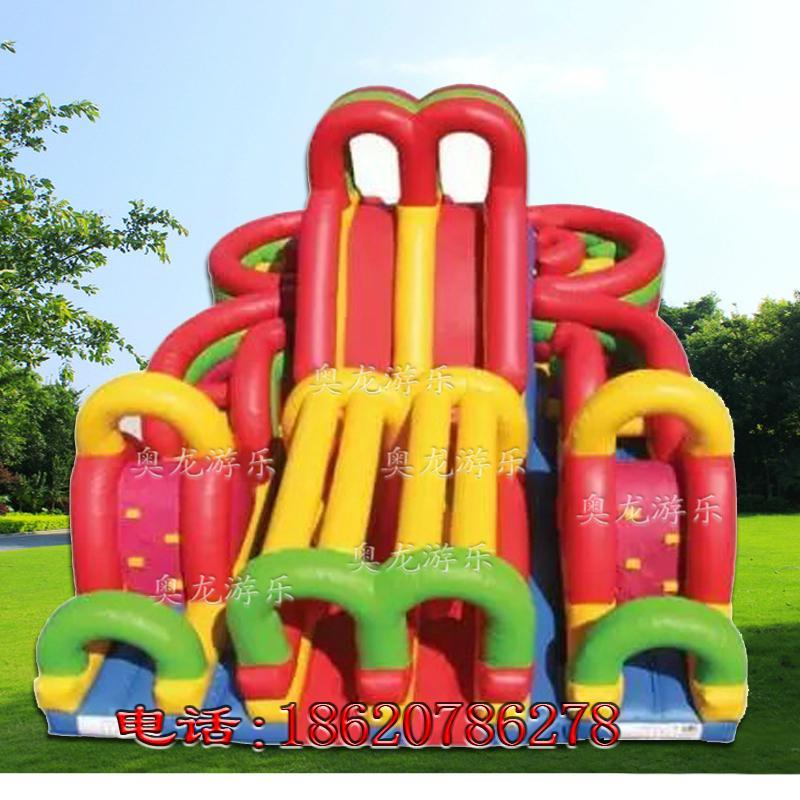 Inflatable three slide castle 6