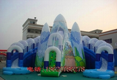 Inflatable ice and ice obstacle slide