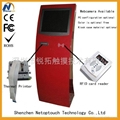 touch kiosk with card reader and printer