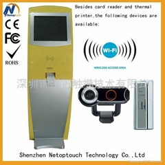 free-standing printer touch kiosk with RFID card