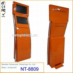 Free standing touch dual monitor wifi kiosk