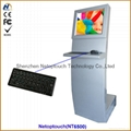 Commercial touch screen digital signage kiosk with keyboard