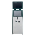 Cash register checkout kiosk with cheque