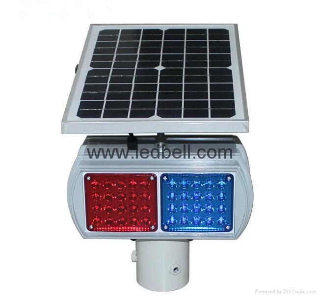 Solar LED flashing strobe traffic light  3