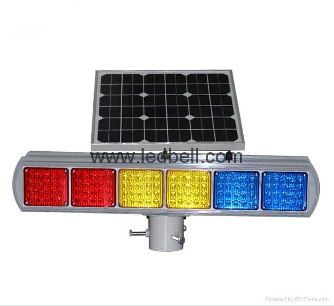 Solar LED flashing strobe traffic light  4