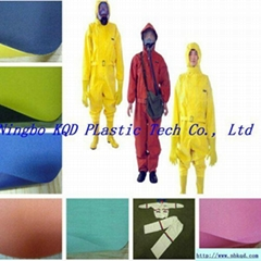 黄色环保PVC防水雨衣布