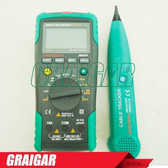 MASTECH MS8236 Autoranging Digital Multimeter LAN Tone Phone Detector Cable Trac 1