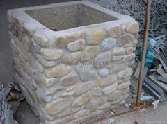 卵石花盆、花坛、柱子