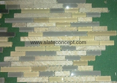 Glass/stone mixed mosaic tile