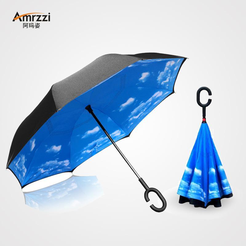 免持双层汽车反向伞反向站立式伞粉雏菊反向开收晴雨伞图片
