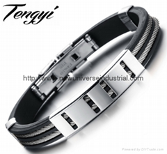 Punk Newest Stainless Steel Black Genuine Silicone Men's Silicone Bracelets Leis