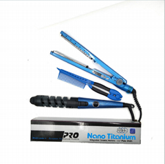 Hair iron spiral curler comb set not hurt hair titanium alloy splint