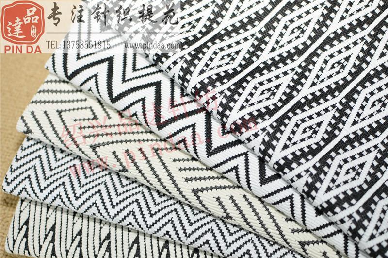黑白色织几何波纹楼梯提花双面针织面料 1