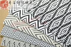 黑白色织几何波纹楼梯提花双面针织面料